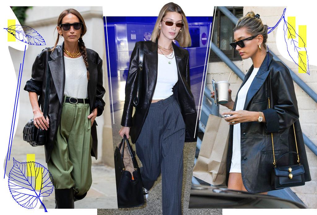 Хит 1990-х – кожаный пиджак – вновь в гардеробах модниц