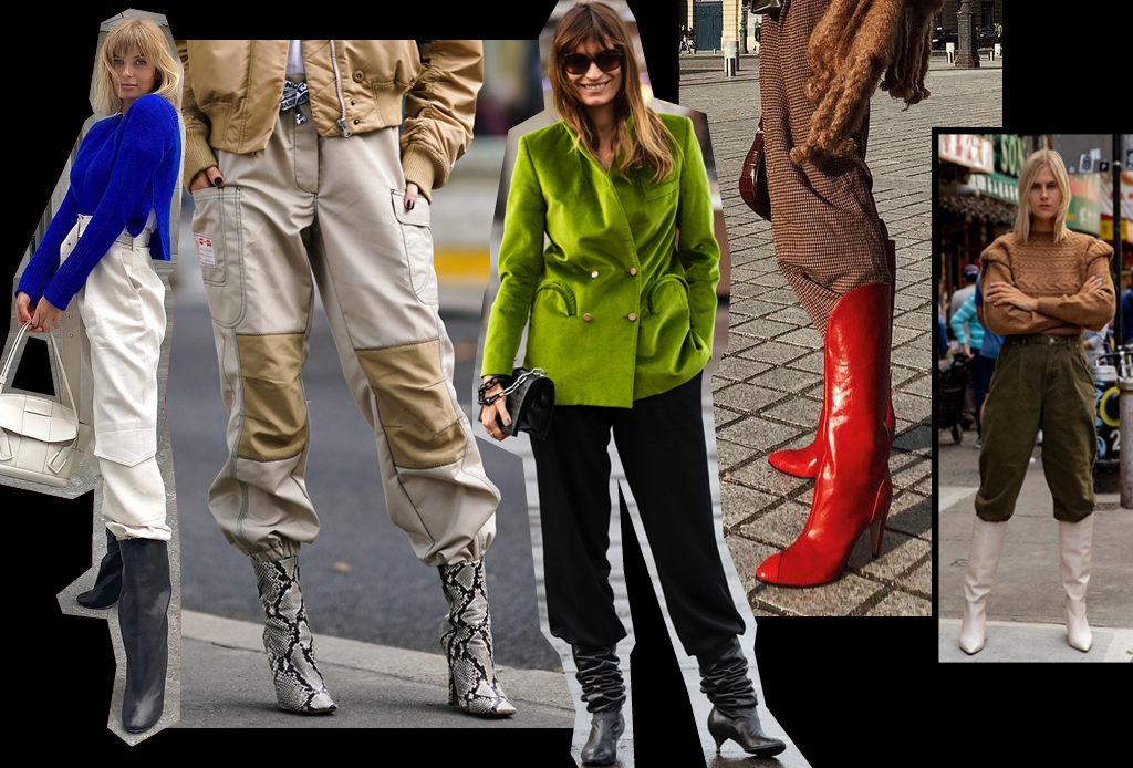 Модный прием: заправлять брюки в сапоги