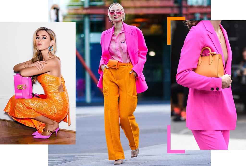 Модный прием: розовый + оранжевый