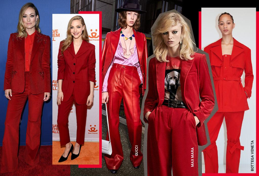 Красный брючный костюм – хит 2020 года