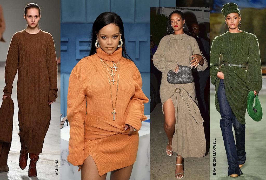 Где найти платье-свитер, как у Рианны, и с чем его носить?